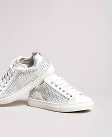 Rhinestone leather sneakers Pale Cream Child 191GCJ070-01