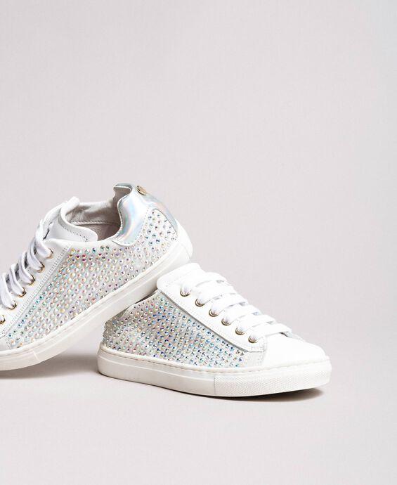 Rhinestone leather sneakers