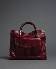 Crackled effect leather shopper Beet Red Woman 192TA7235-02