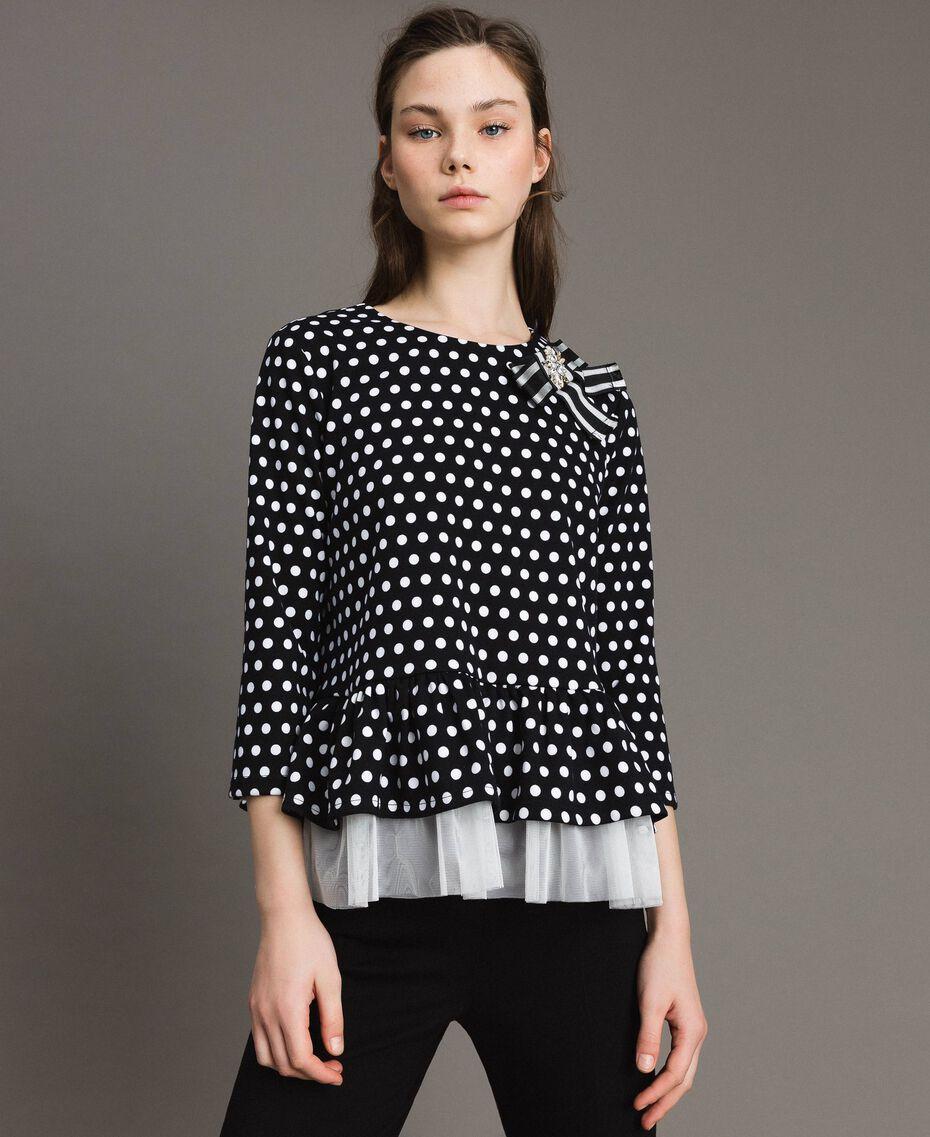 Blouse à pois avec broche nœud Bicolore Noir / Blanc Femme 191MP2363-05