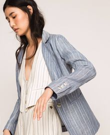 Double breasted pin stripe linen blazer Blue Pin / Antique White Stripes Woman 201TT2303-01