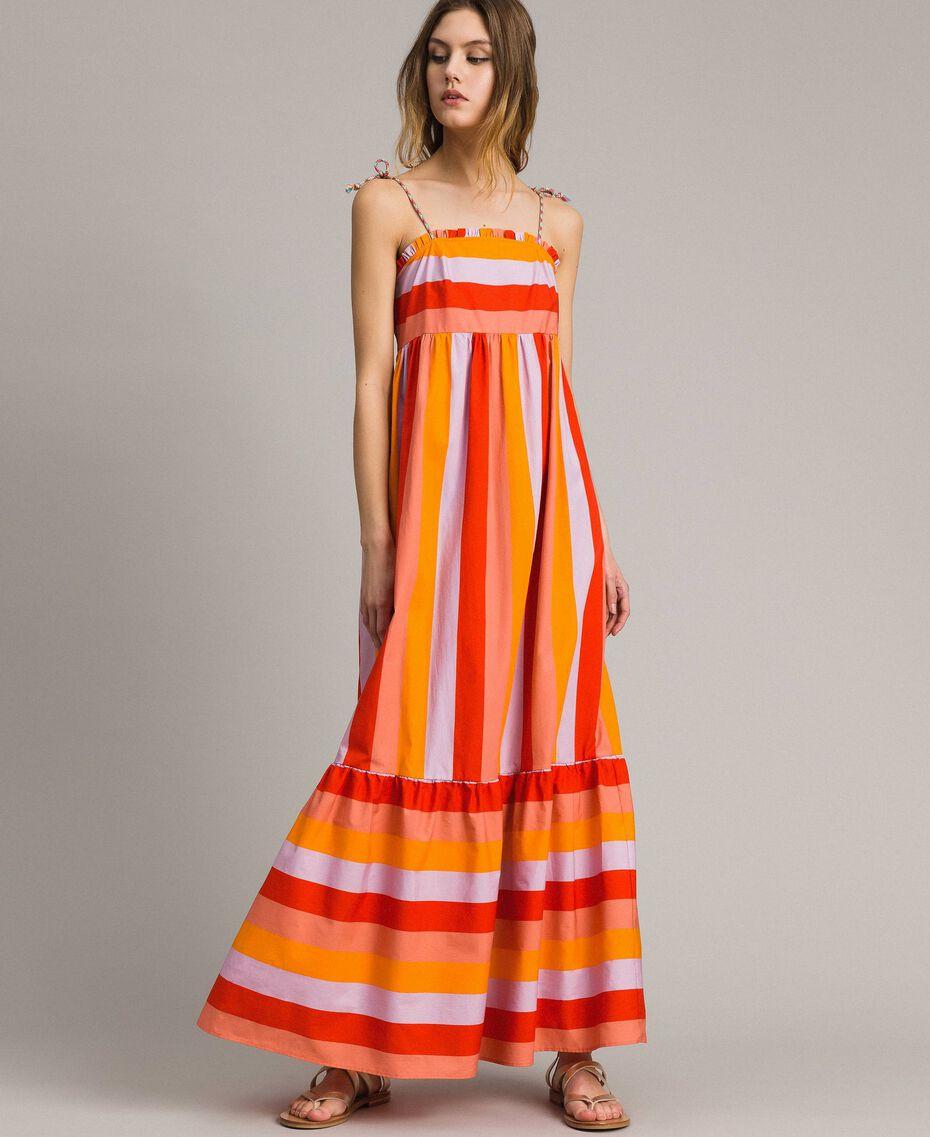 Robe longue en popeline à rayures multicolores Imprimé Multicolore Grenadine Femme 191TT2411-02