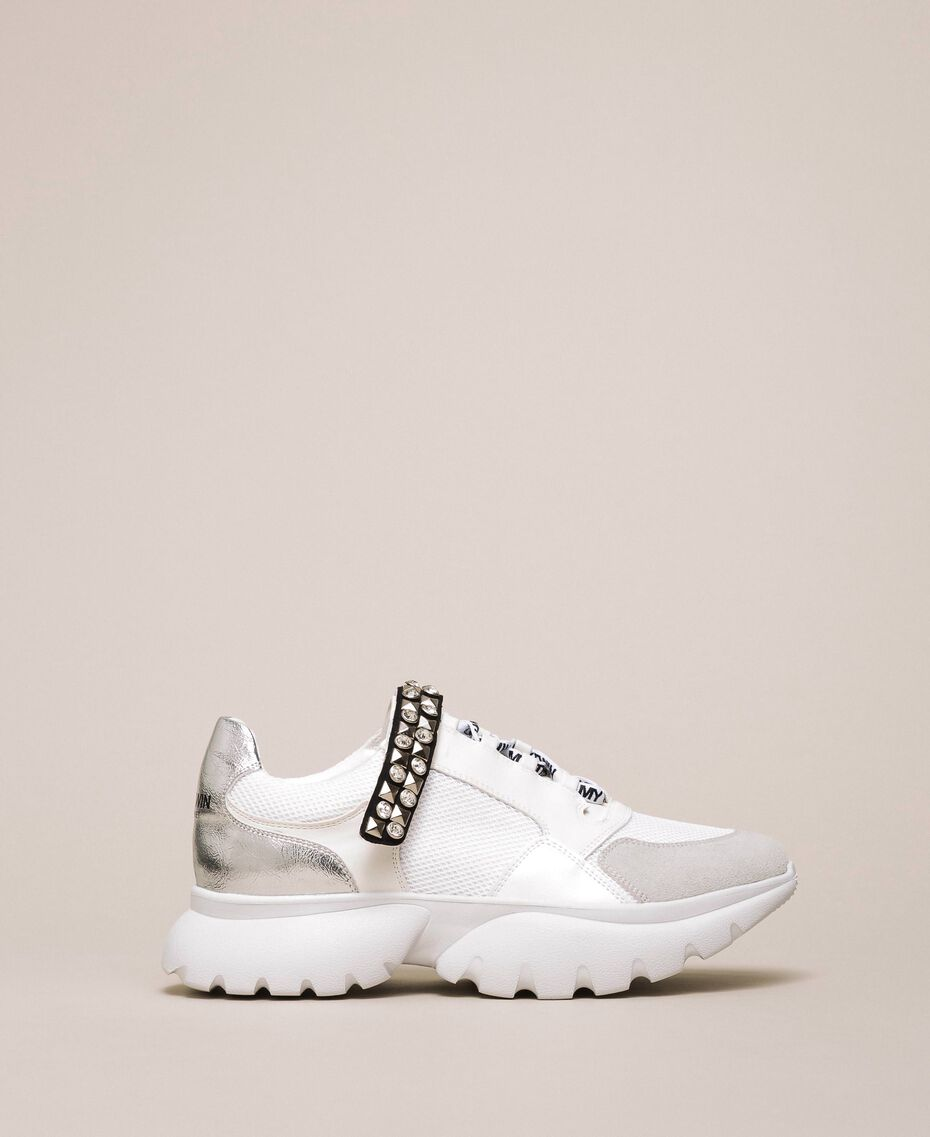 Chaussures de running avec détail bijou Blanc Vanille Femme 201MCP092-01