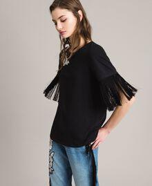 T-shirt avec broderie et franges Noir Femme 191TT2131-02