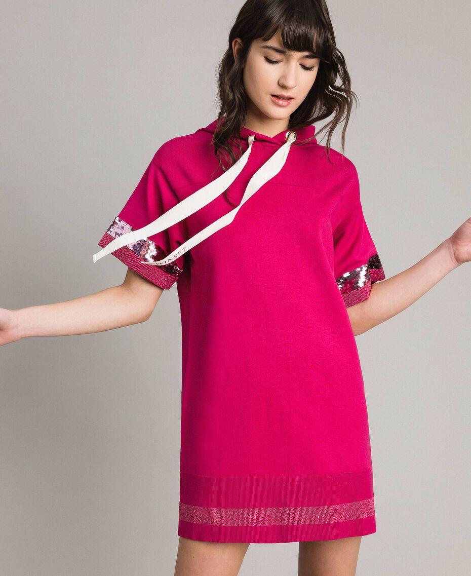 Viscose mini dress with sequins Rose Blossom Woman 191LL35QQ-01