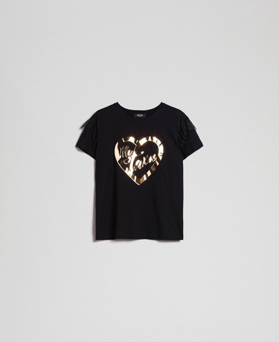 T-shirt with golden print and lace Black Woman 192MP2430-0S