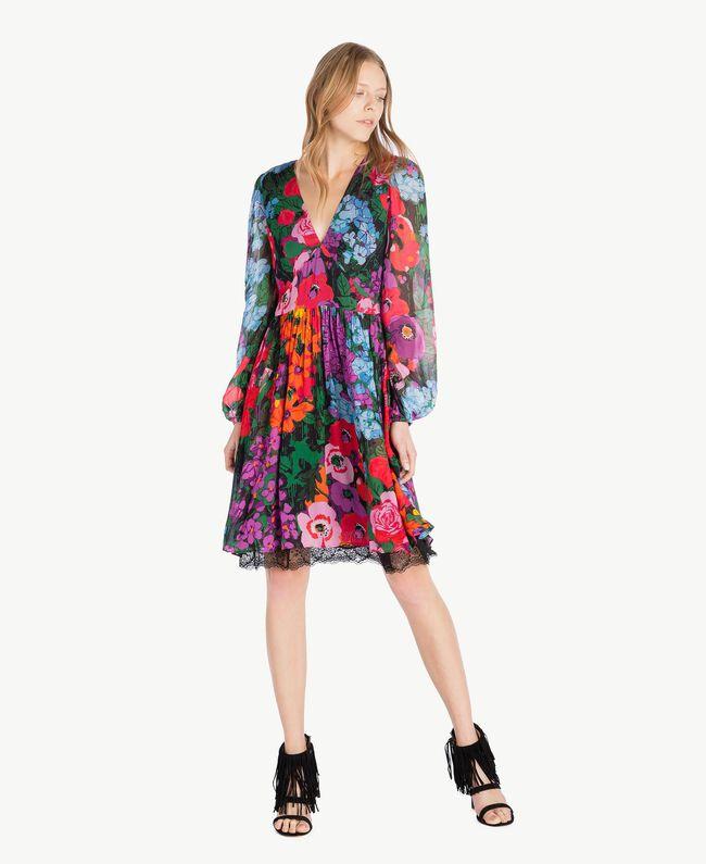 "Kleid mit Print ""Sixty Flower""-Print Frau TS824D-01"