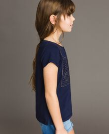 T-shirt in cotone stretch con strass Indaco Bambina 191GJ2462-02