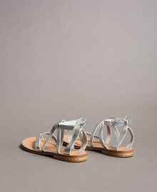 Laminated leather sandals with straps Silver Woman 191TCT09W-04