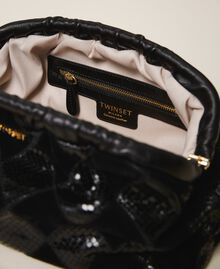 Diamond leather maxi pochette Two-tone Black / Black Diamonds Woman 202TD8033-05