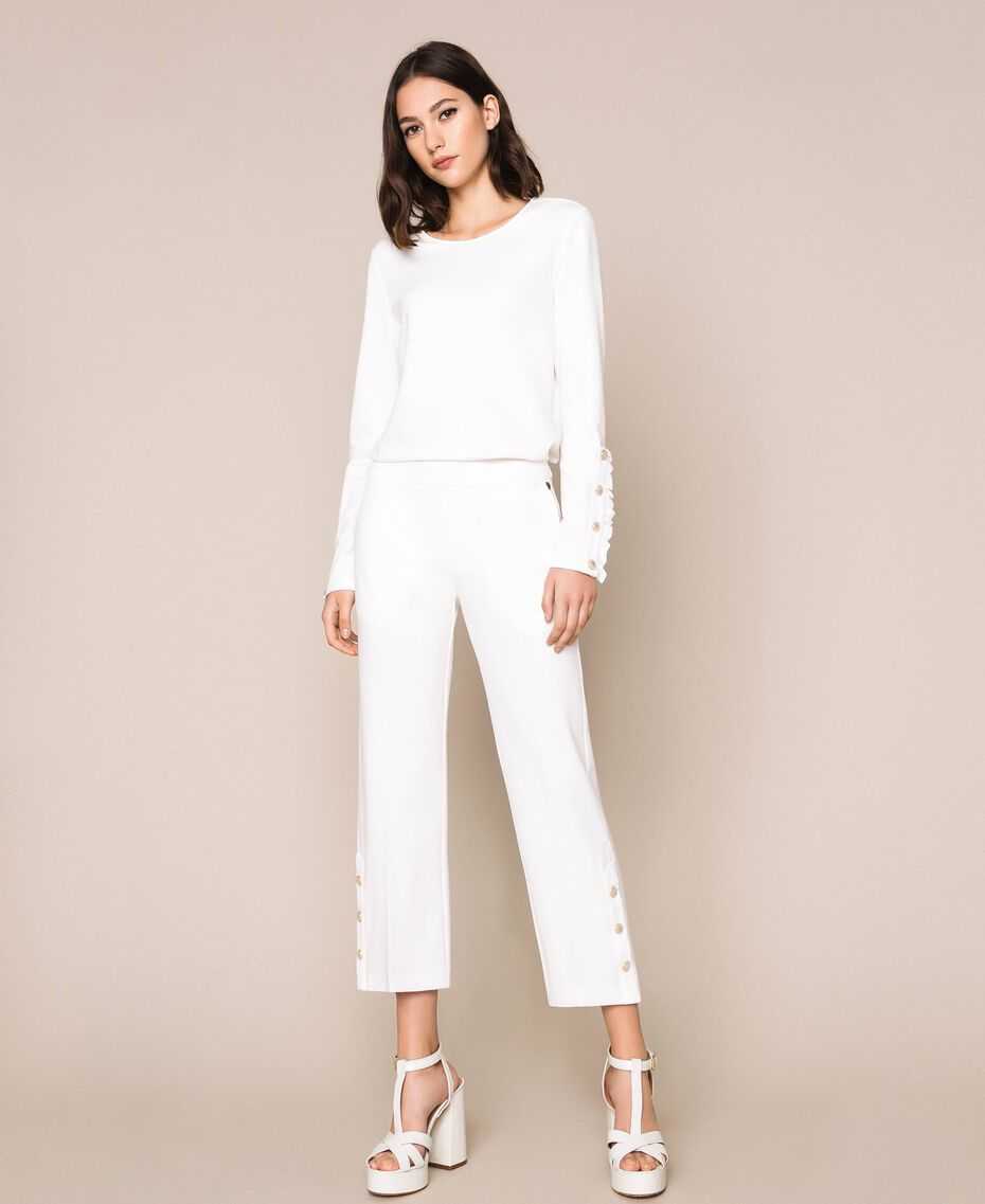 Trousers with frill and pearls Ivory Woman 201TP2103-01
