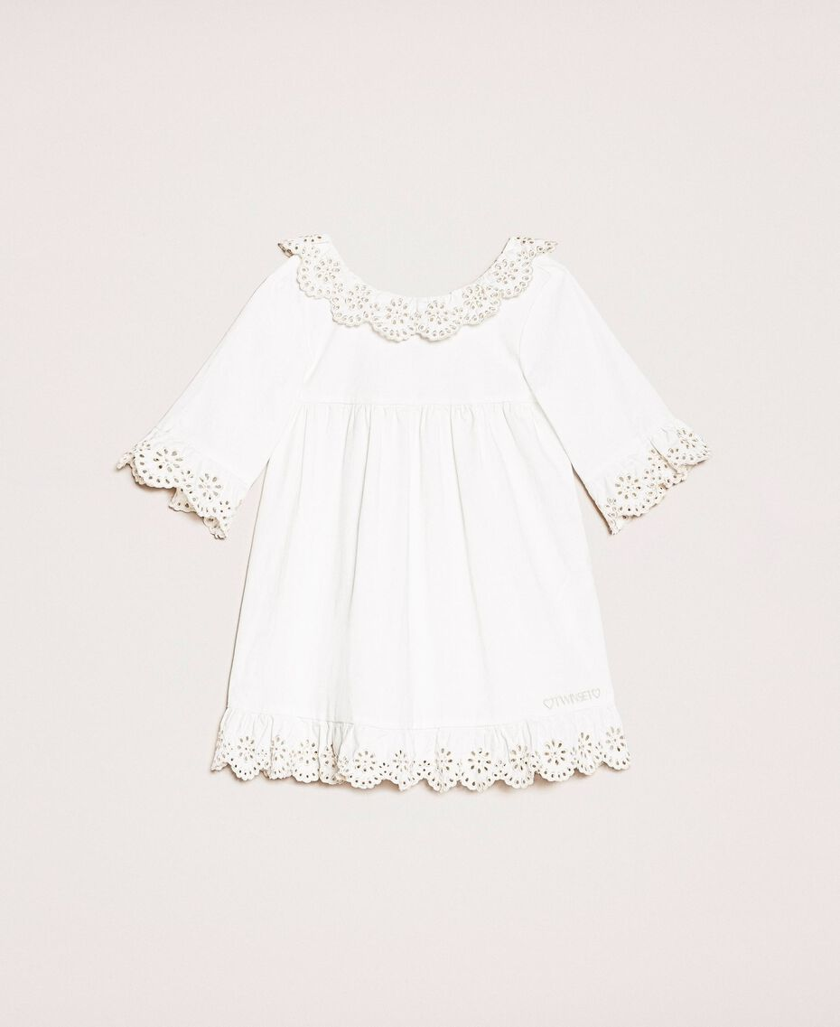 "Poplin dress with broderie anglaise Two-tone ""Papyrus"" White / Chantilly Child 201GB2150-01"