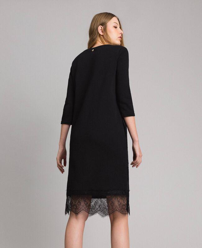 Robe en molleton avec dentelle Noir Femme 191MP2325-03