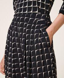 "Printed crêpe de Chine palazzo trousers Black /""Nude"" Beige Optical Print Woman 202ST2508-04"