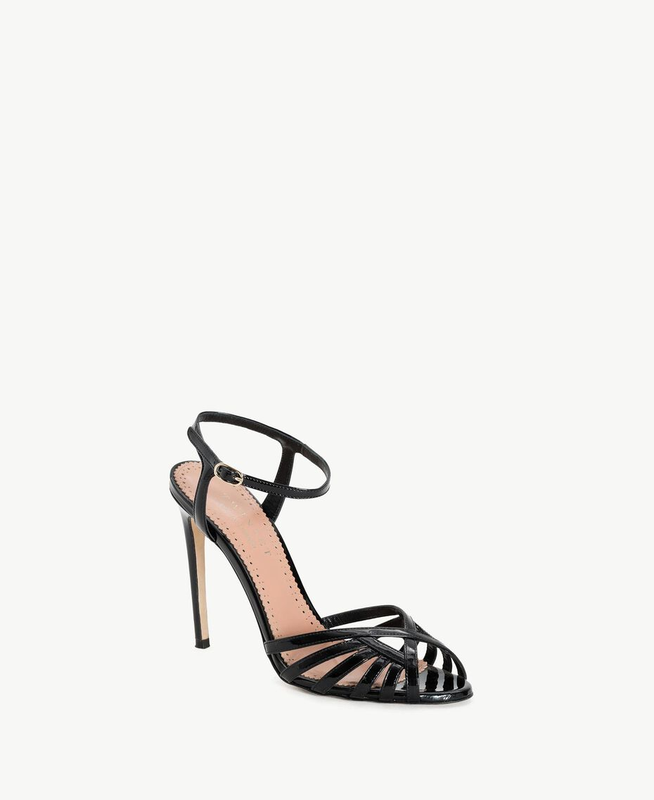 TWINSET Sandalette aus Lackleder Schwarz Frau CS8TBU-02