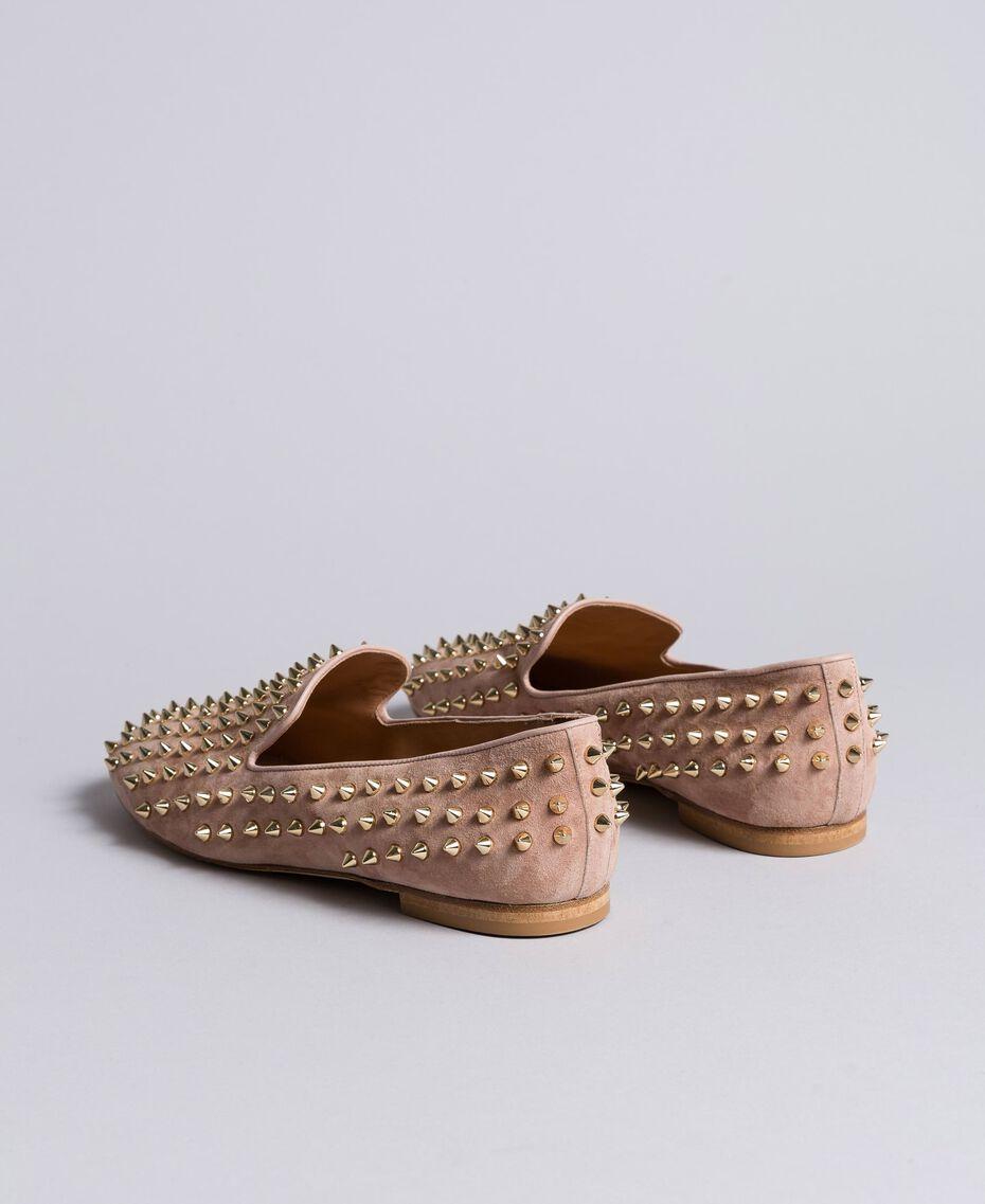 """Slippers in pelle scamosciata con borchie Rosa """"Pale Pink"""" Donna CA8TFJ-01"""
