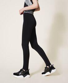 Knit leggings with logo Black Woman 202LI3KJJ-02