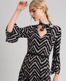 """Floral and chevron print long dress Black / """"Snow"""" Chevron Print Woman 192TP2527-04"""