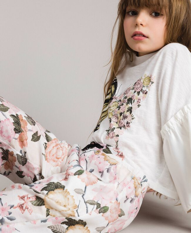 Floral viscose trousers with lace print Ramage Butterfly Print Child 191GJ2522-04