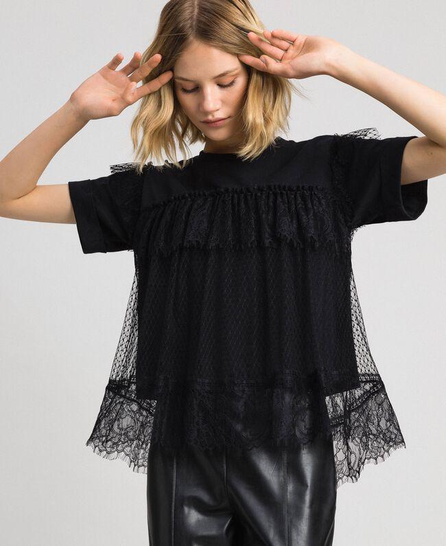 Valenciennes lace flounce blouse Black Woman 192TP2330-01