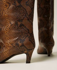 Leather high boots with animal print Leather Whips Print Woman 212TCP180-04