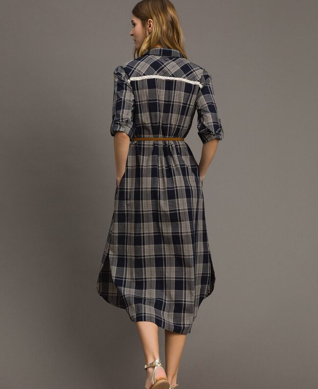 Check dress with belt Blue Shadow Check Jacquard Woman 191ST2132-03