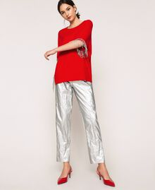 Laminated elasticated trousers Silver Woman 201TP2400-01