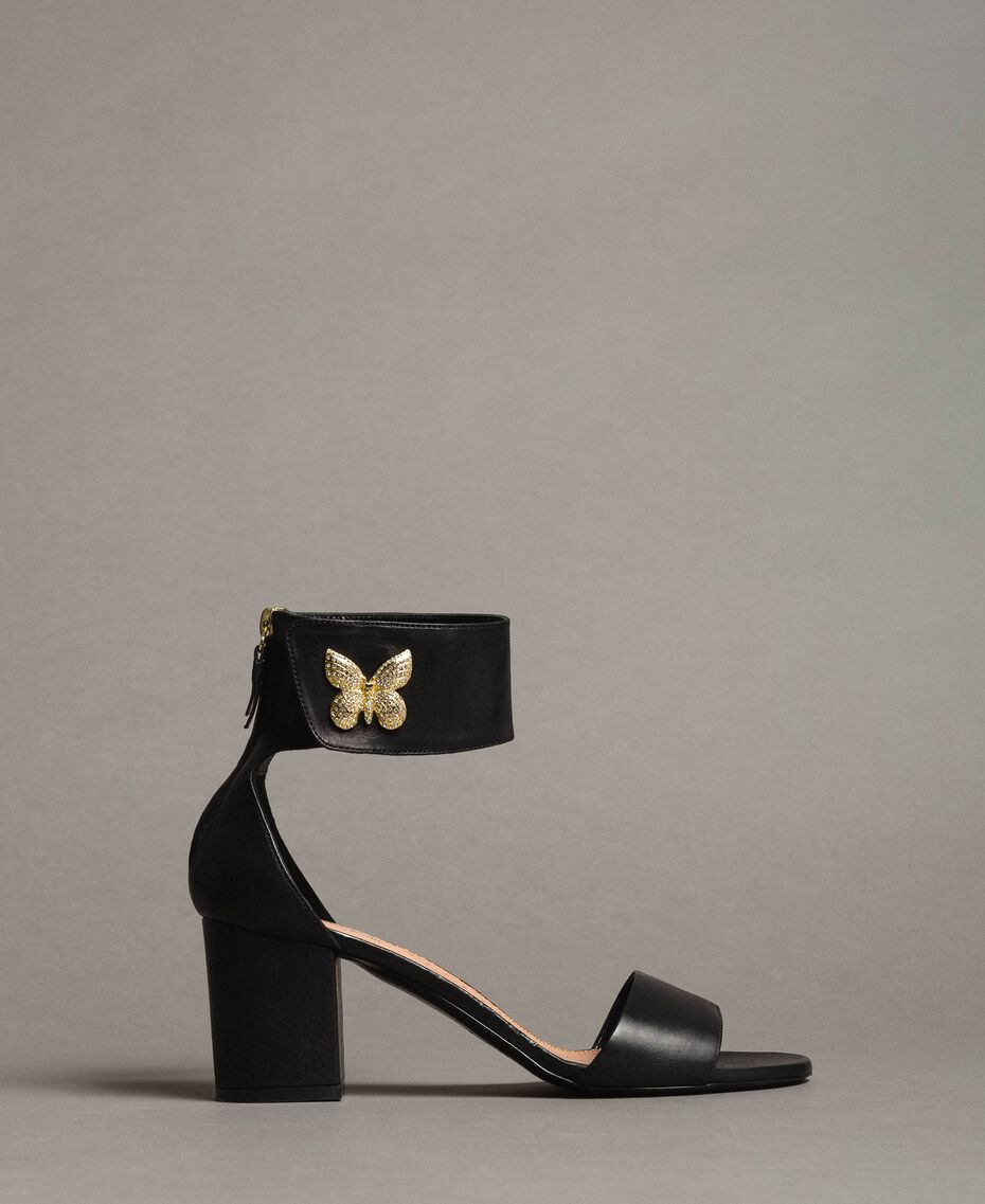 Leather sandals with rhinestones butterfly Black Woman 191TCT010-02