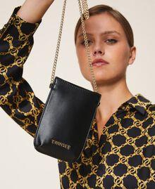 Smartphonetasche aus Lederimitat Schwarz Frau 202TD8118-0S