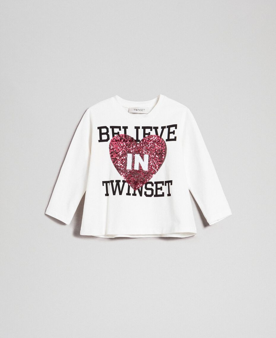 Printed t-shirt with sequinned heart Ruby Wine Sequin Heart Embroidery / Off White Child 192GB244F-01
