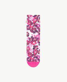 "Flower socks ""Doll"" Fuchsia / ""Hydrangea"" Pink Flower Print Woman AS8P6A-01"