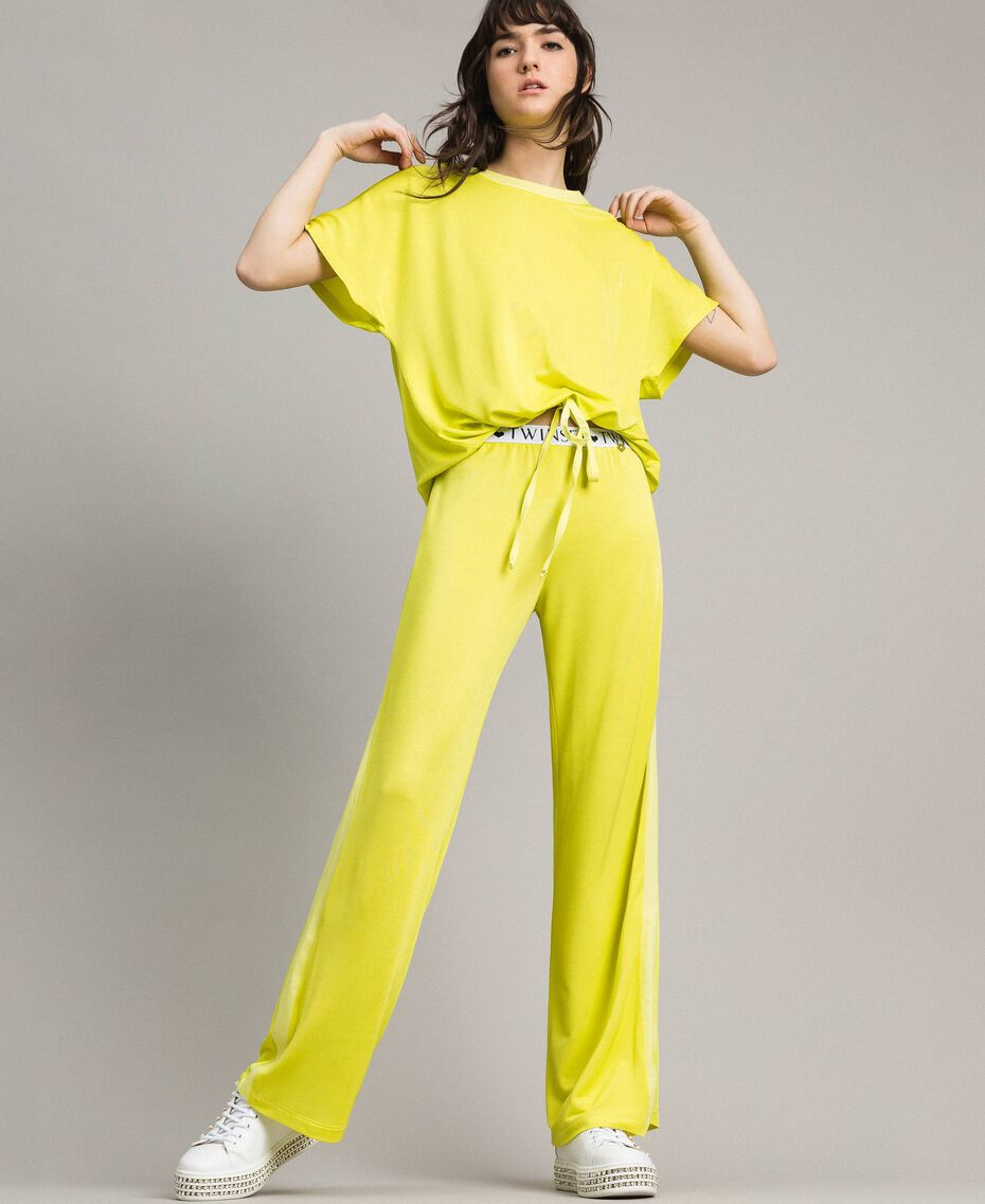 """Trousers with side bands """"Lemon Juice"""" Yellow Woman 191LL23KK-02"""