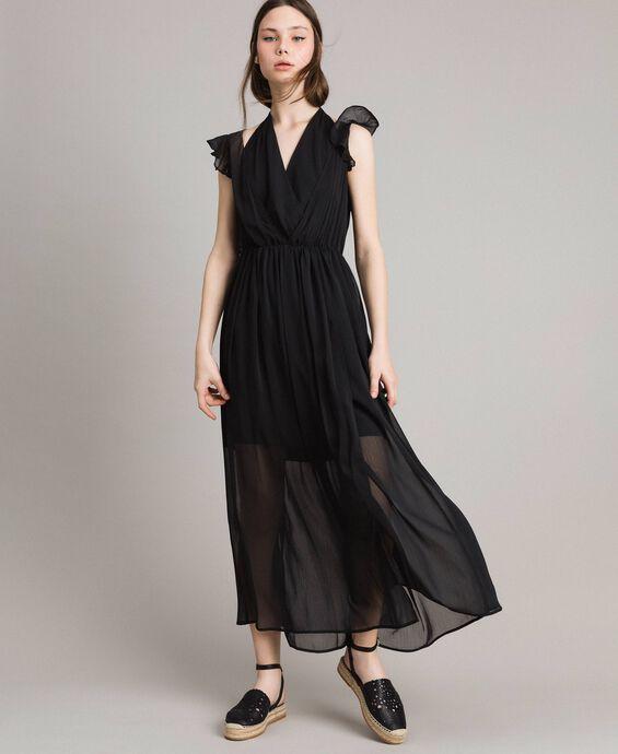 Crepon long dress