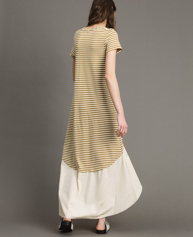 """Striped long dress with flounce Off White / """"Savannah"""" Beige Striping Woman 191ST2034-04"""