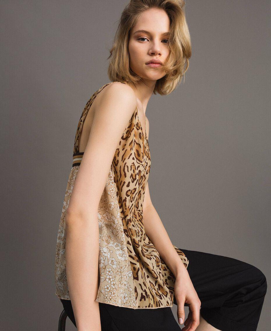 """Top con estampado animal Estampado Animal Marrón """"Petra Sandstone"""" Mujer 191LM2UDD-01"""