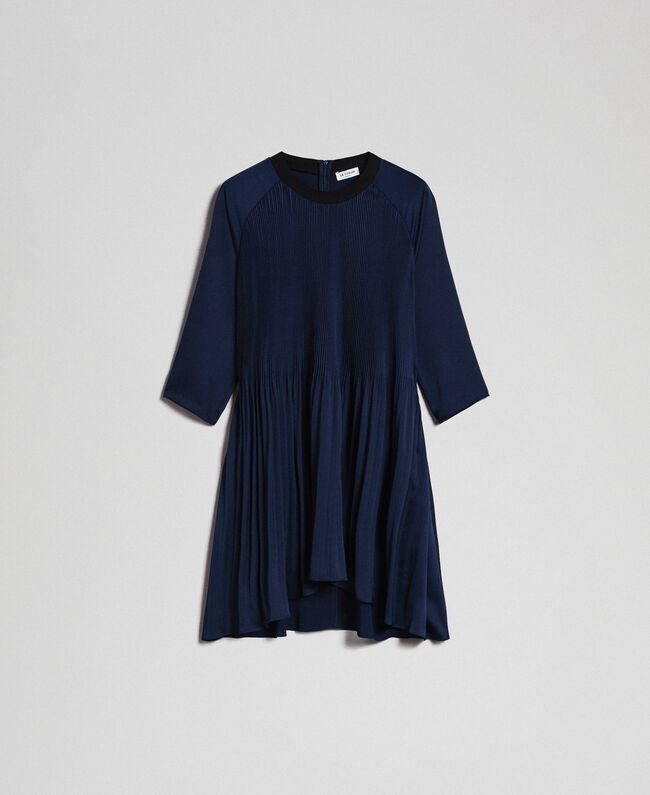 Pleated dress with three-quarter sleeves Night Blue Woman 192ST2091-0S