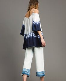 Tie dye blouse with macramé and fringes Two-tone Off White / Blunight Woman 191MT2320-04