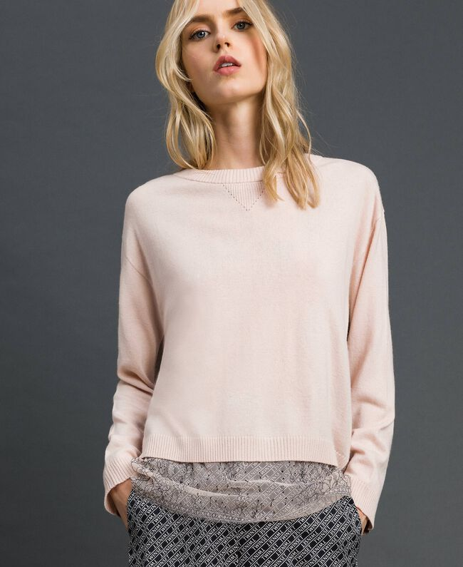 Pull boxy avec top nuisette Rose Bouton Femme 192MP3101-01