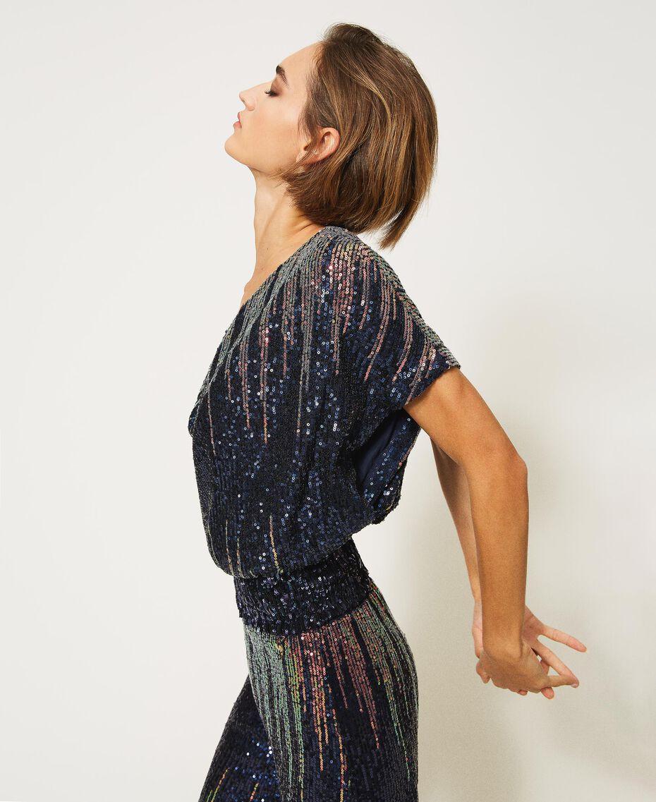 Bluse mit Alloverpailletten im Farbverlauf Mehrfarbige irisierende Pailletten Frau 202MP2481-02