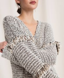 Twisted yarn jumper with lurex Multicolour Ivory / Black Woman 201TP3162-05