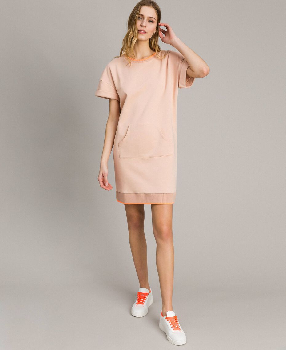 Fleece mini dress Delicate Pink Woman 191LL21AA-02