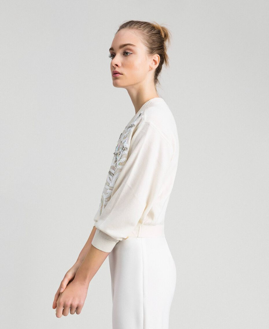 Cashmere blend jumper with embroidery White Snow Woman 192TQ3038-02