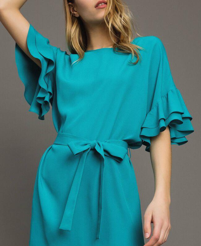 Kleid mit Volants aus Seidenmischung Keramikblau Frau 191TT2074-01
