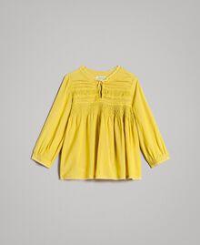 """Voile-Bluse aus Baumwolle mit Stickerei """"Bamboo"""" Gelb Kind 191GJ2350-01"""
