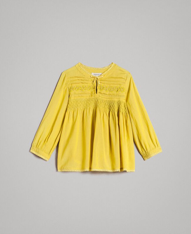 """Cotton voile blouse with embroidery """"Bamboo"""" Yellow Child 191GJ2350-01"""