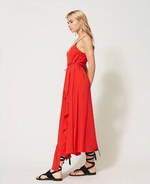 """Long silk blend dress """"Coral"""" Red Woman 211TT2142-02"""
