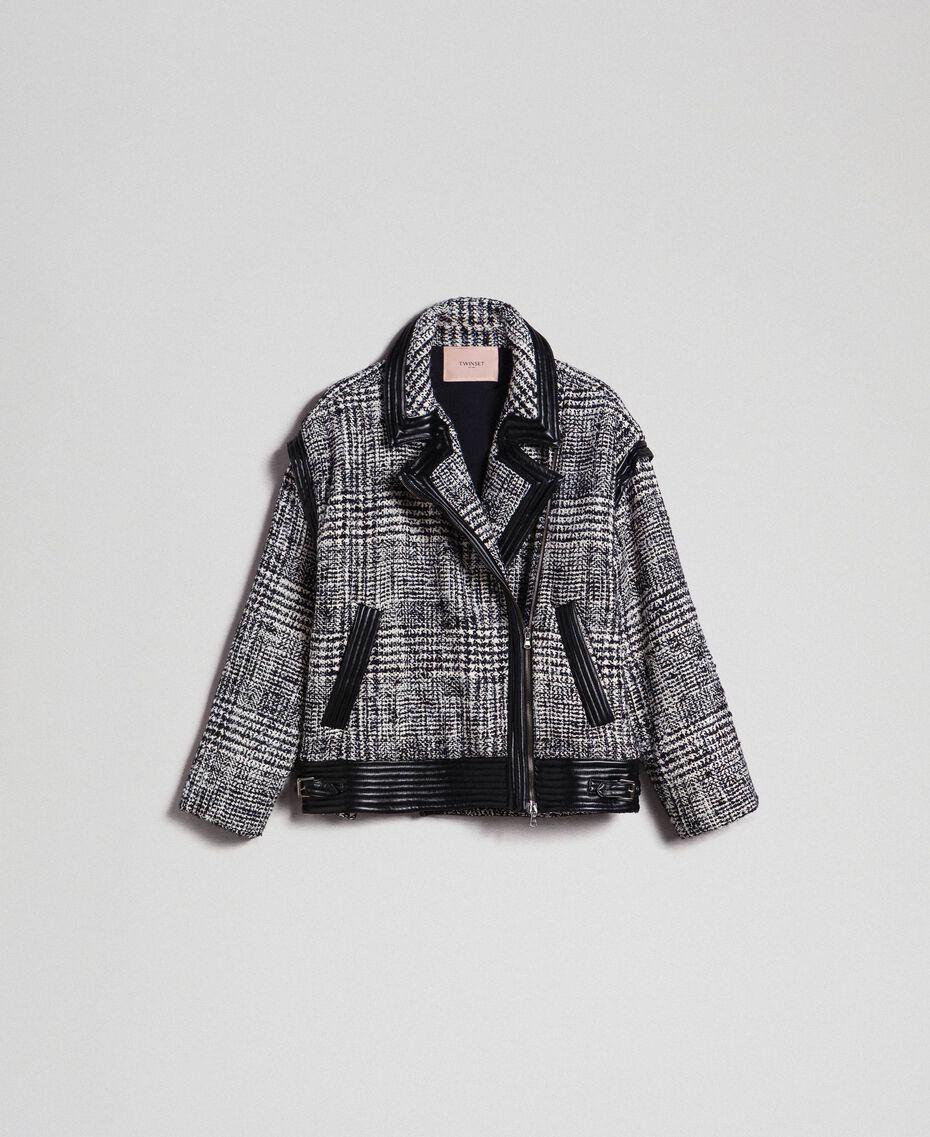 Perfecto en drap Prince de Galles Jacquard Neige / Noir Femme 192TT2100-0S