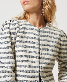 "Striped bouclé jacket ""Ivory Mat"" Grey / Blue Light Stripe Woman 211TT2051-06"