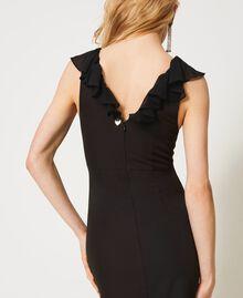 Long cady dress with ruffles Black Woman 211TQ213A-04