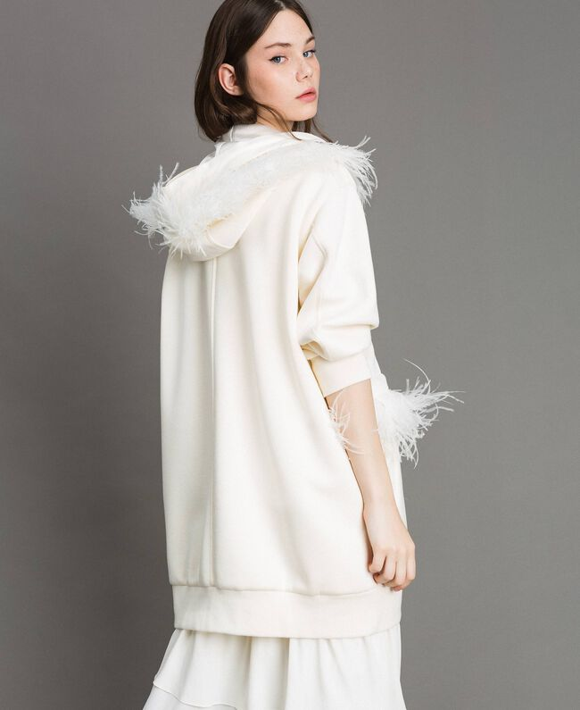 """Long scuba bomber with feathers """"Silk"""" White Woman 191TP2068-03"""
